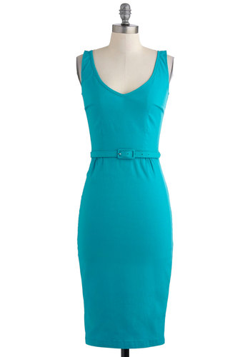 Present and Accounting For Dress - Long, Solid, Pinup, Sleeveless, Summer, Belted, Pencil, Work, Party, Cocktail, Girls Night Out, Bodycon / Bandage
