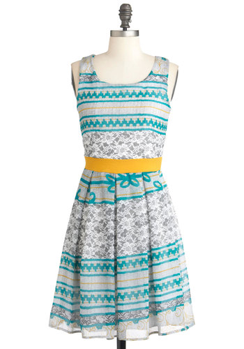 Free Your Mind Dress - Yellow, Print, Pleats, A-line, Sleeveless, Mid-length, Green, Casual, Multi, Grey