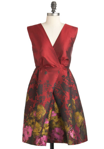 Different Brush Strokes Dress - Mid-length, Red, Multi, Floral, Pleats, Party, Film Noir, Vintage Inspired, Empire, Sleeveless, Fall, Bodycon / Bandage, Holiday Party, Satin, V Neck, Tis the Season Sale