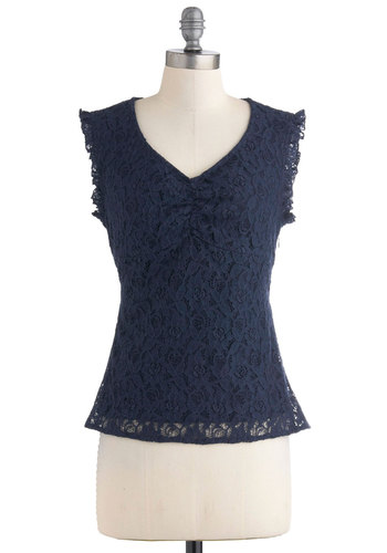 Gals' Getaway Top by Tulle Clothing - Mid-length, Blue, Solid, Lace, Sleeveless, Casual, V Neck