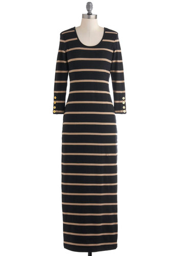 Coffee and a Novel Dress - Black, Tan / Cream, Stripes, Casual, Maxi, Long Sleeve, Long, Fall