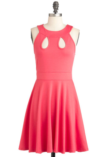 Teardrop Me a Line Dress - Mid-length, Solid, Cutout, Casual, Vintage Inspired, A-line, Racerback, Summer, Pink, Coral