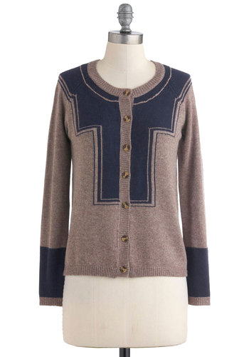 Honor Yourself Cardigan - Short, Tan, Blue, Buttons, Long Sleeve, Casual, Fall, Scholastic/Collegiate, Button Down