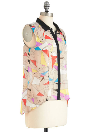 Drinks with Docents Top - Mid-length, Multi, Buttons, Casual, Sleeveless, Multi, Colorblocking, Neon, Sheer, Button Down, Collared