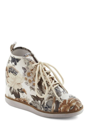 Ticket to the Garden Wedge by Jeffrey Campbell - Multi, White, Floral, Casual, Urban, Brown, Tan / Cream, Grey, Fall, Wedge, Lace Up, Tis the Season Sale