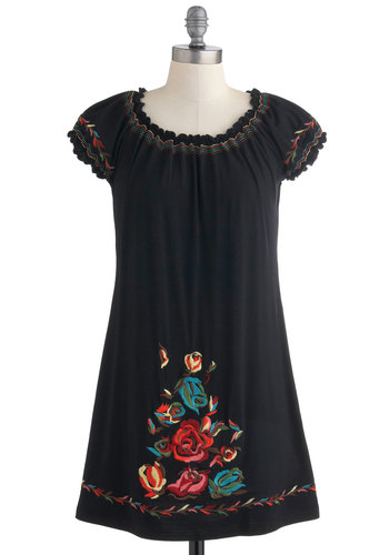 Naturally Sweet Songstress Dress - Black, Multi, Floral, Embroidery, Casual, Sheath / Shift, Cap Sleeves, Short, Travel, Folk Art