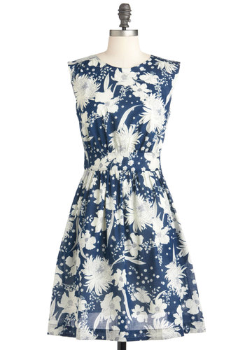 Too Much Fun Dress in Bouquet by Emily and Fin - Blue, White, Floral, Party, A-line, Sleeveless, Spring, Pockets, Cotton, Daytime Party, Fit & Flare, International Designer, Mid-length