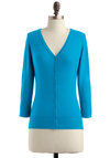 Charter School Cardigan in Teal - Blue, Solid, Buttons, Mid-length, Work, 3/4 Sleeve, Scholastic/Collegiate, Button Down, Minimal, V Neck, Variation
