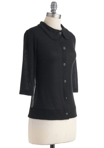 Bring It Sheer Cardigan - Black, Peter Pan Collar, Casual, 3/4 Sleeve, Sheer, Mid-length, Buttons, Button Down, Collared