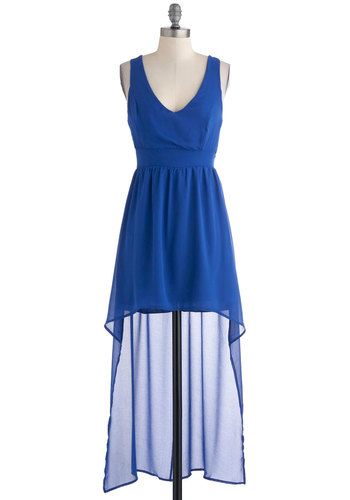High-Low Can You Go? Dress - Blue, Solid, Party, Sleeveless, Summer, High-Low Hem, Short, Backless, Statement, Sheer, V Neck, Chiffon, Top Rated
