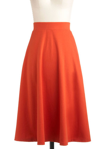 A O-Sway Skirt - Long, Orange, Solid, A-line, Work, Vintage Inspired, Fall, Variation, Jersey