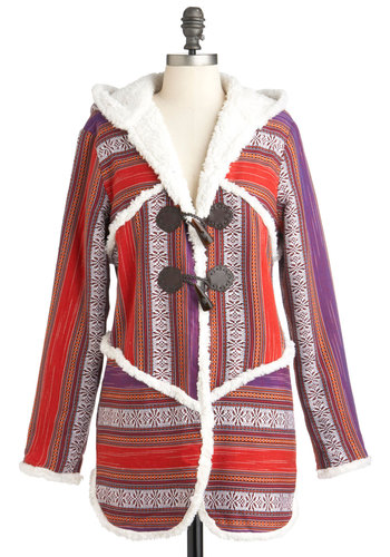Drum Circle Up Coat by Ladakh - Multi, Red, Purple, Brown, White, Buttons, Long Sleeve, Casual, Boho, Folk Art, Rustic, Long, Coral, 3