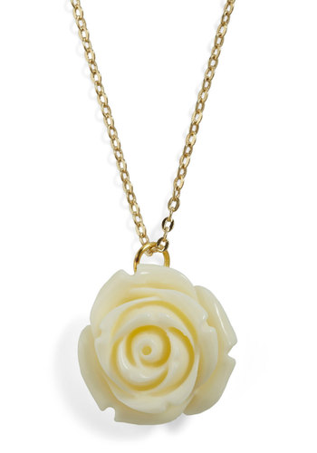 Retro Rosie Necklace in Ivory - Solid, Flower, Fairytale, Pastel, Daytime Party, Gold, Tan / Cream, Variation, Graduation