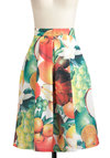 Splash Forward Skirt - Long, Multi, Red, Orange, Green, White, Pleats, Pockets, Casual, Fruits, A-line, Exclusives, Beach/Resort