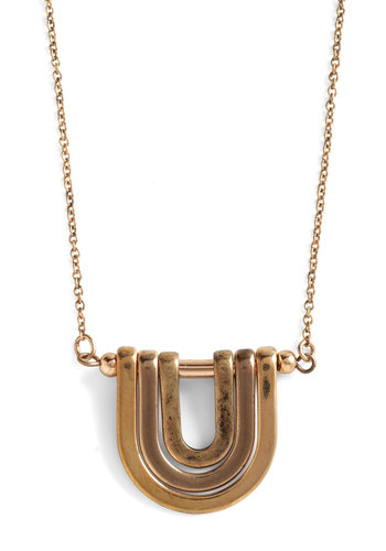 Take Your U-Turn Necklace - Gold, Solid, 80s