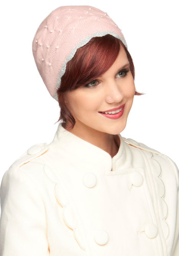 Ladylike I Said Hat by Alice Hannah London - Pink, Grey, Solid, Pearls, Scallops, Winter