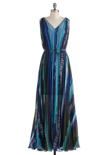 Reef You Breathless Dress - Multi, Blue, Black, Print, Tie Dye, Boho, Maxi, Sleeveless, Belted, Long, Party, Sheer, V Neck, Beach/Resort