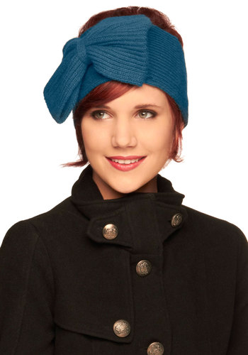 Girly in the Morning Earwarmer - Blue, Solid, Bows, Knitted, Winter
