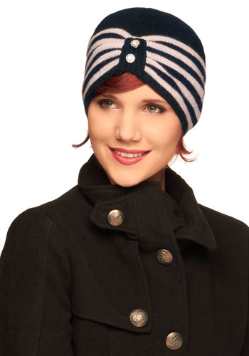 Pair Skating Hat by Alice Hannah London - Black, Pink, Stripes, Buttons, Rhinestones, Winter, International Designer