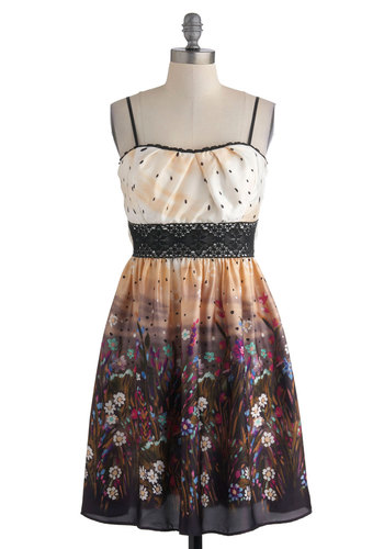 Garden Jig Dress in Ecru - Multi, Multi, Floral, Crochet, Trim, A-line, Mid-length, Party, Spaghetti Straps, Cocktail