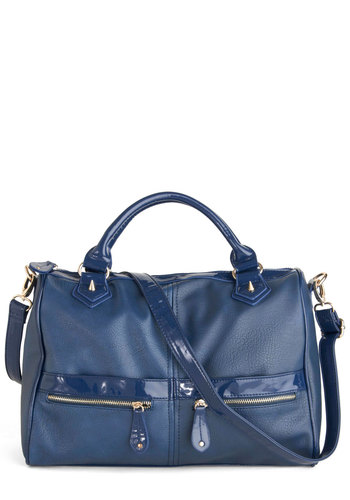 Stylish Sojourn Bag - Blue, Solid, Studs, Casual, Urban, Faux Leather