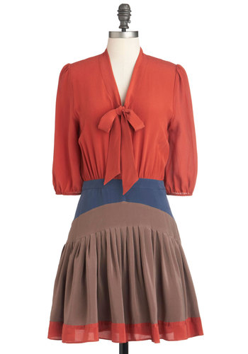 Everyday Character Dress - Mid-length, Multi, Orange, Blue, Brown, Pleats, Tie Neck, Twofer, 3/4 Sleeve, Fall, Colorblocking, Scholastic/Collegiate, Sheer, V Neck