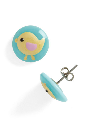 Chick It Out Earrings - Blue, Yellow, Print with Animals, Casual, Kawaii, Pastel