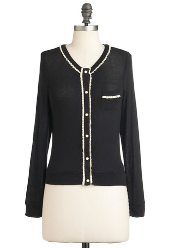 Meet the Small Press Cardigan - Black, Tan / Cream, Buttons, Work, Long Sleeve, Fall, Short, Sheer, Button Down