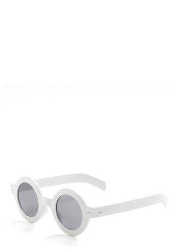 Round the Bend Sunglasses - White, 60s, Casual