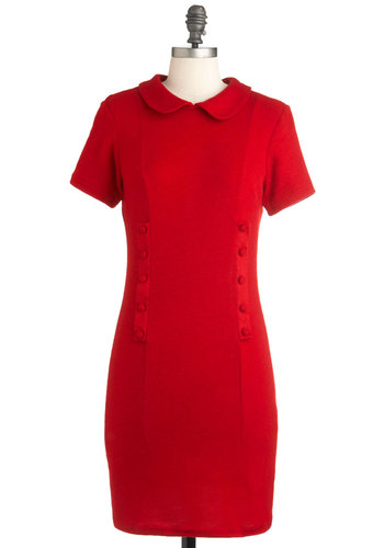 Endeavor After Dress - Short, Red, Solid, Buttons, Peter Pan Collar, Sheath / Shift, Short Sleeves, Vintage Inspired, 50s, Exclusives, Bodycon / Bandage, Collared, Mod