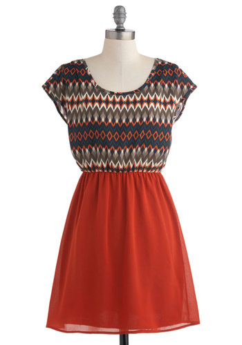 Meet Me on the Quad Dress - Short, Orange, Multi, Print, Casual, A-line, Cap Sleeves, Folk Art, Tis the Season Sale, Twofer
