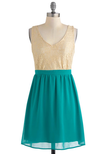 Sand Meets the Sea Dress - Short, Green, Gold, Lace, Party, Twofer, Sleeveless, Spring, V Neck