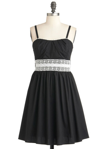 Grand Occasion Dress - Black, Solid, Pleats, Spaghetti Straps, Summer, Mid-length, White, Party, Crochet, Empire, Cocktail, Cotton