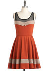 Love Will Find a Soiree Dress - Short, Orange, Tan / Cream, Black, Party, Fit & Flare, Sleeveless, Colorblocking, Sheer, Halloween