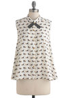 Canter Hardly Wait Top - Mid-length, White, Tan / Cream, Buttons, Sleeveless, Multi, Black, Print with Animals, Scholastic/Collegiate, Button Down, Collared, Work