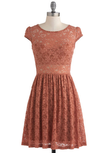 Cinnamon and Nice Dress - Orange, Lace, Party, A-line, Short, Cap Sleeves, Film Noir, French / Victorian