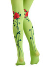 Running Through the Roses Tights by Look From London - Green, Red, Floral, Casual
