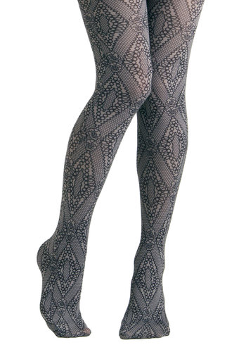 Net Your Average Tights by Look From London - Grey, Black, Print