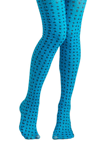 Little Bug Blue Tights by Look From London - Blue, Black, Print with Animals, Quirky
