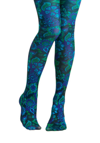 Under the Blacklight Tights by Look From London - Blue, Green, Floral, Party, Casual, Vintage Inspired, 60s, 70s, Statement, Girls Night Out, Quirky
