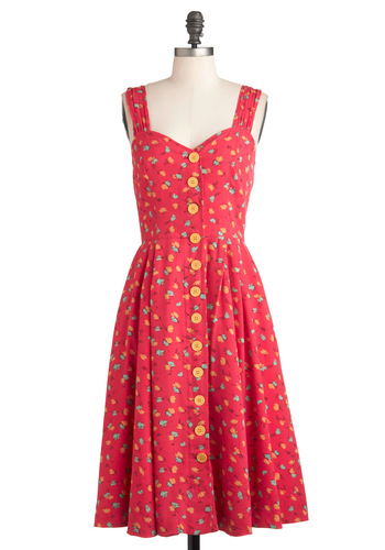 Brunch with Buds Dress in Florets by Emily and Fin - Buttons, Pleats, Casual, A-line, Sleeveless, Summer, Long, Pockets, Red, Yellow, Floral, Holiday Sale, Button Down, Daytime Party, Sweetheart, International Designer, Variation