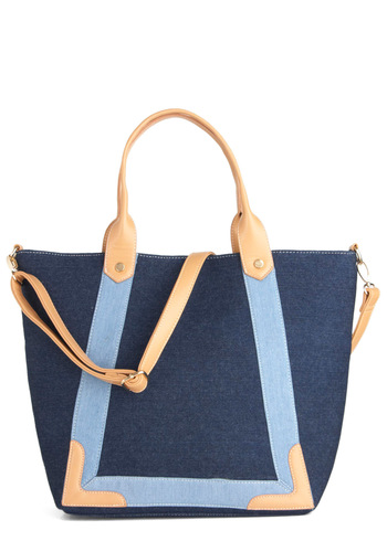 Carry the Daydream Bag - Blue, Tan / Cream, Casual, 80s
