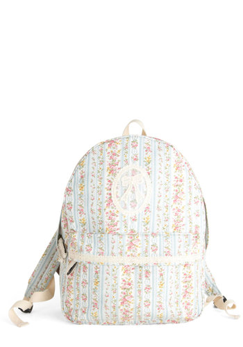 Decor Class Backpack - Blue, Pink, White, Floral, Lace, Trim, Casual, Travel