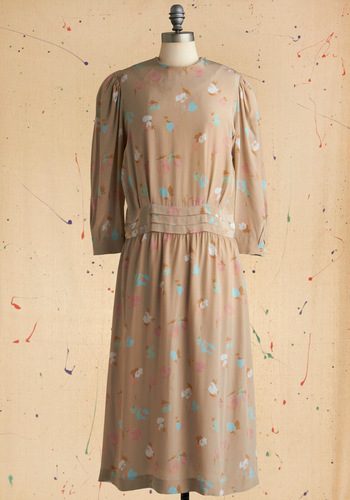 Vintage Taupe the Charts Dress