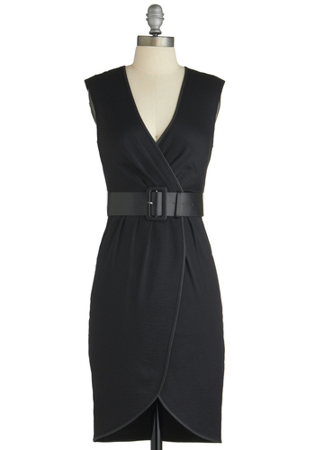 Noir We There Yet? Dress - Short, Black, Solid, Belted, Work, Shift, Sleeveless, Girls Night Out, V Neck, Tis the Season Sale