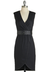 Noir We There Yet? Dress - Short, Black, Solid, Belted, Work, Sheath / Shift, Sleeveless, Girls Night Out, V Neck, Tis the Season Sale