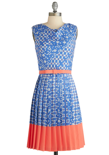 Wallpaper Party Dress by Eva Franco - Mid-length, Blue, Orange, White, Pleats, Belted, Sleeveless, Floral, Vintage Inspired, 60s, Spring, Daytime Party, Coral, Graduation, A-line