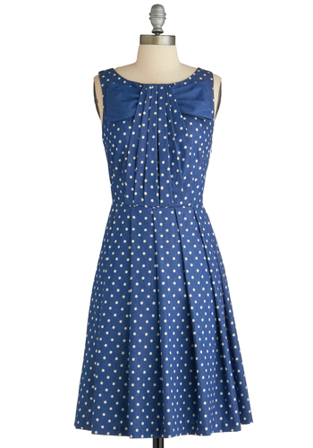 Pleaty Please Dress by Eva Franco - Mid-length, Blue, White, Polka Dots, Pleats, Party, A-line, Sleeveless, Spring, Bows, Scholastic/Collegiate, Cotton, Boat, Fit & Flare, Exclusives