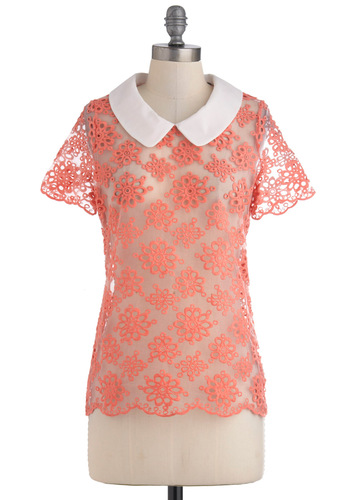 Aster It Up Top - Pink, Tan / Cream, Solid, Embroidery, Peter Pan Collar, Mid-length, Sheer, Casual, Vintage Inspired, Collared, Tis the Season Sale
