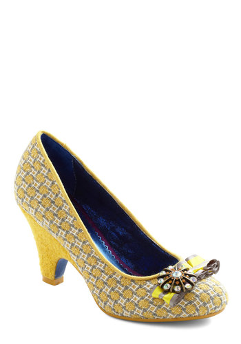 Twinkle and Tweed Heel by Poetic License - Yellow, Grey, White, Bows, Flower, Rhinestones, Ruffles, Luxe, Vintage Inspired, Mid